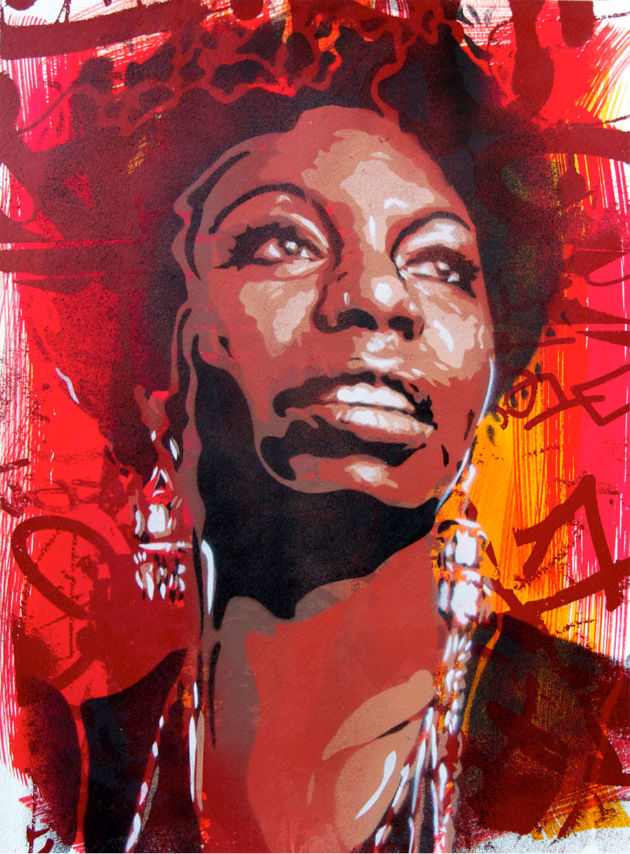 """Nina Simone"" Stencil, screenprint & ink on paper (Canson300 mg) 40x30cm.Limited Edition of 5. 2013"