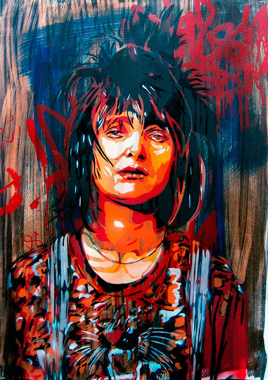 "Andrea Btoy. ""Siouxsie"" Stencil, screenprint and ink on paper 50 x 70 cm. Unique. 2012"