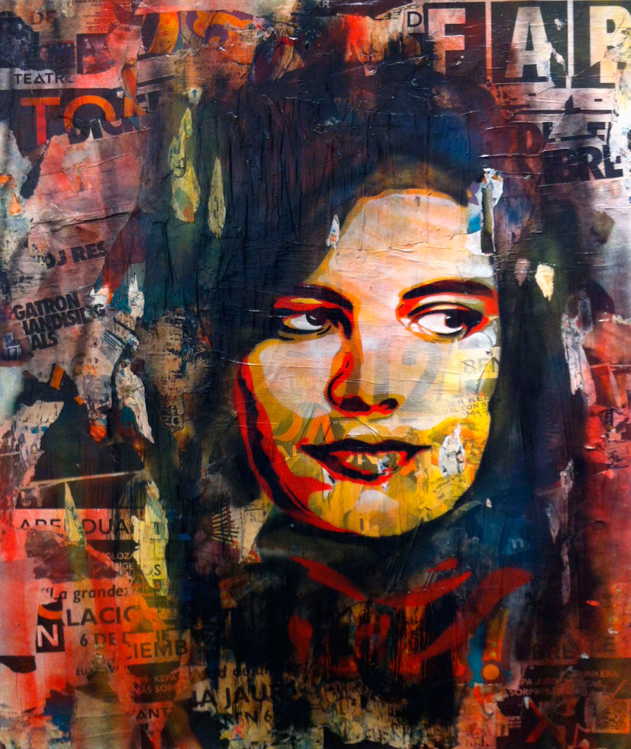 "Andrea Btoy ""Susan Sontag"".Mixed media on wood 162 X 130 cm. 2012. Unique"