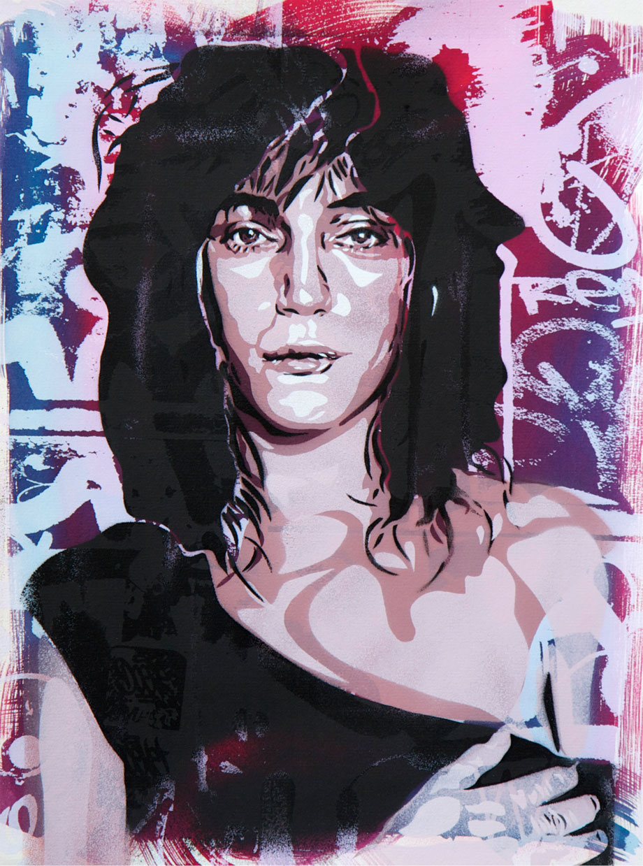 "Andrea Btoy. ""Patti Smith"" Stencil, screenprint and ink on paper (Canson 300 mg) 40x30cm.Limited Edition oF 5. 2013"