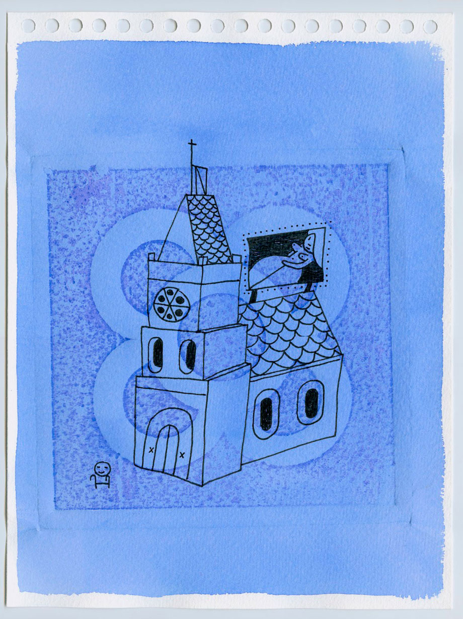 """Church"". Watercolor and ink on paper 23,5x31,5cm.Framed"