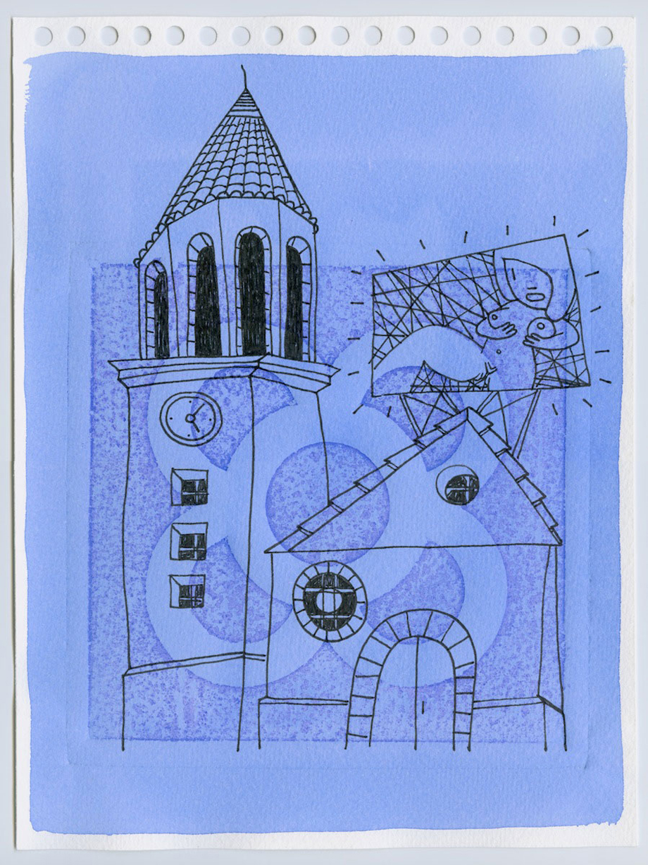 """church 2"" Watercolor and ink on paper 23,5x31,5cm.Framed."