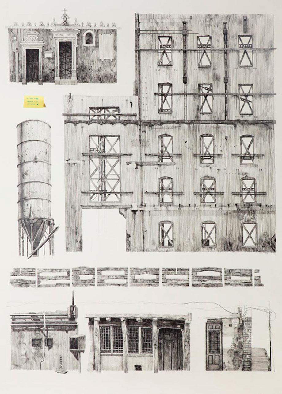 """""""39 deseos"""" #3 Serie. Tinta y collage sobre papel. 108x78 cm. 2012"""