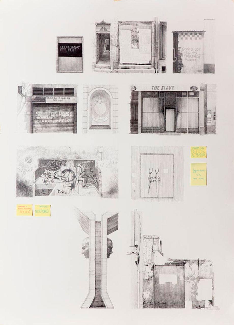 """""""39 deseos"""" #5 Serie. Tinta y collage sobre papel. 108x78 cm. 2012"""