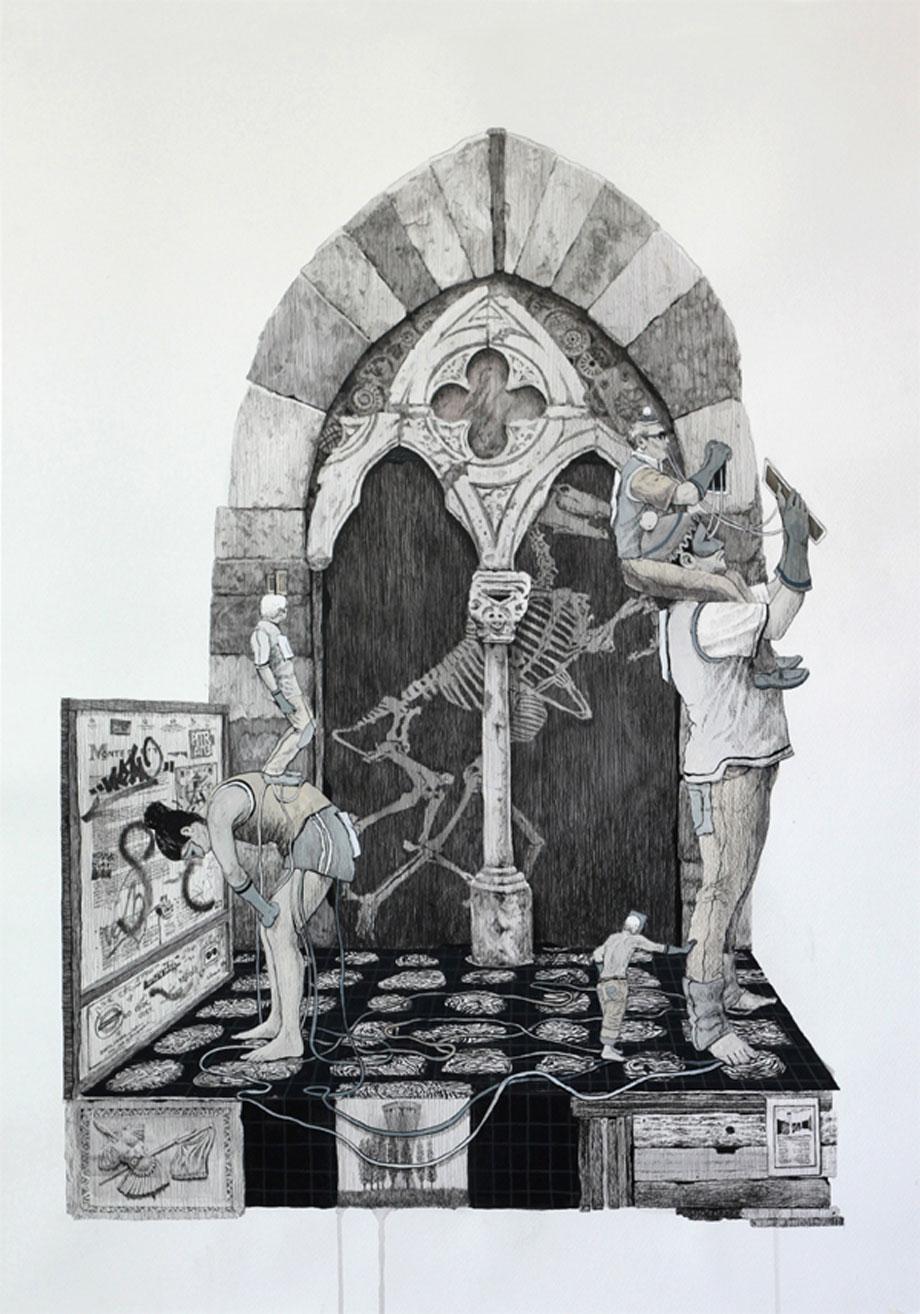 """""""Ensamblaje 2"""". Tinta, lápiz y gouache sobre papel. 100x70cm. 2013"""