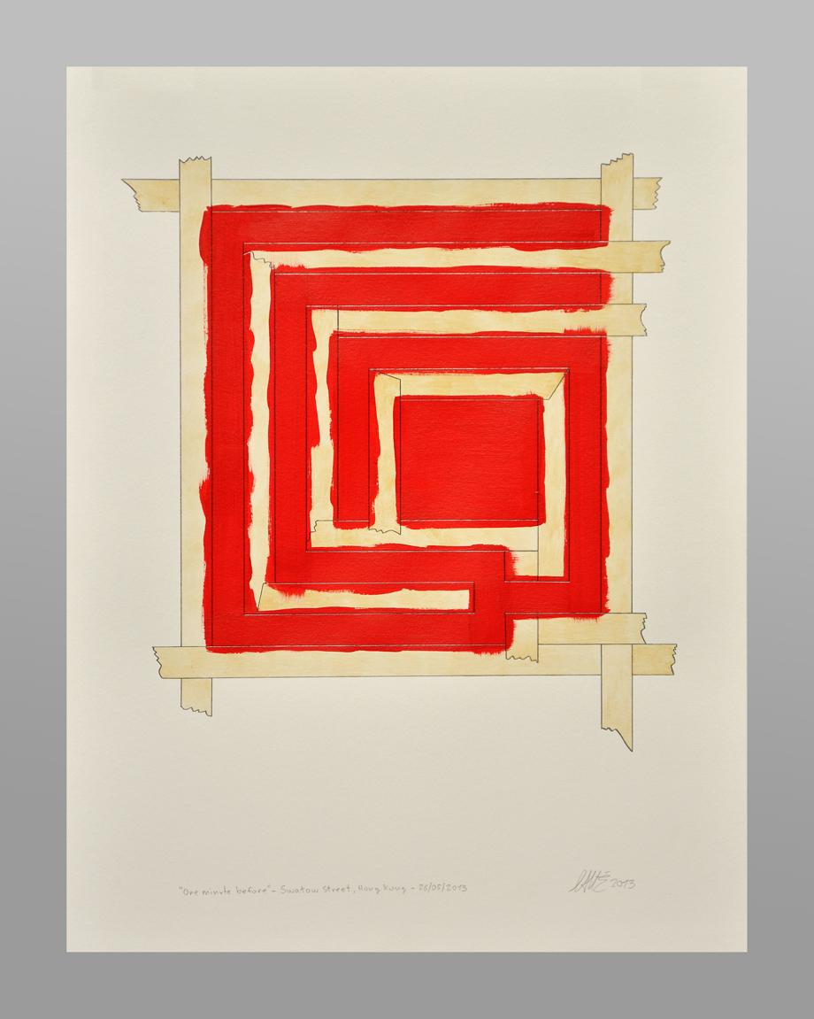 """""""O M B"""" Lápiz, acrylic y acuarela sobre paper 65 x 50 cm. 2013"""