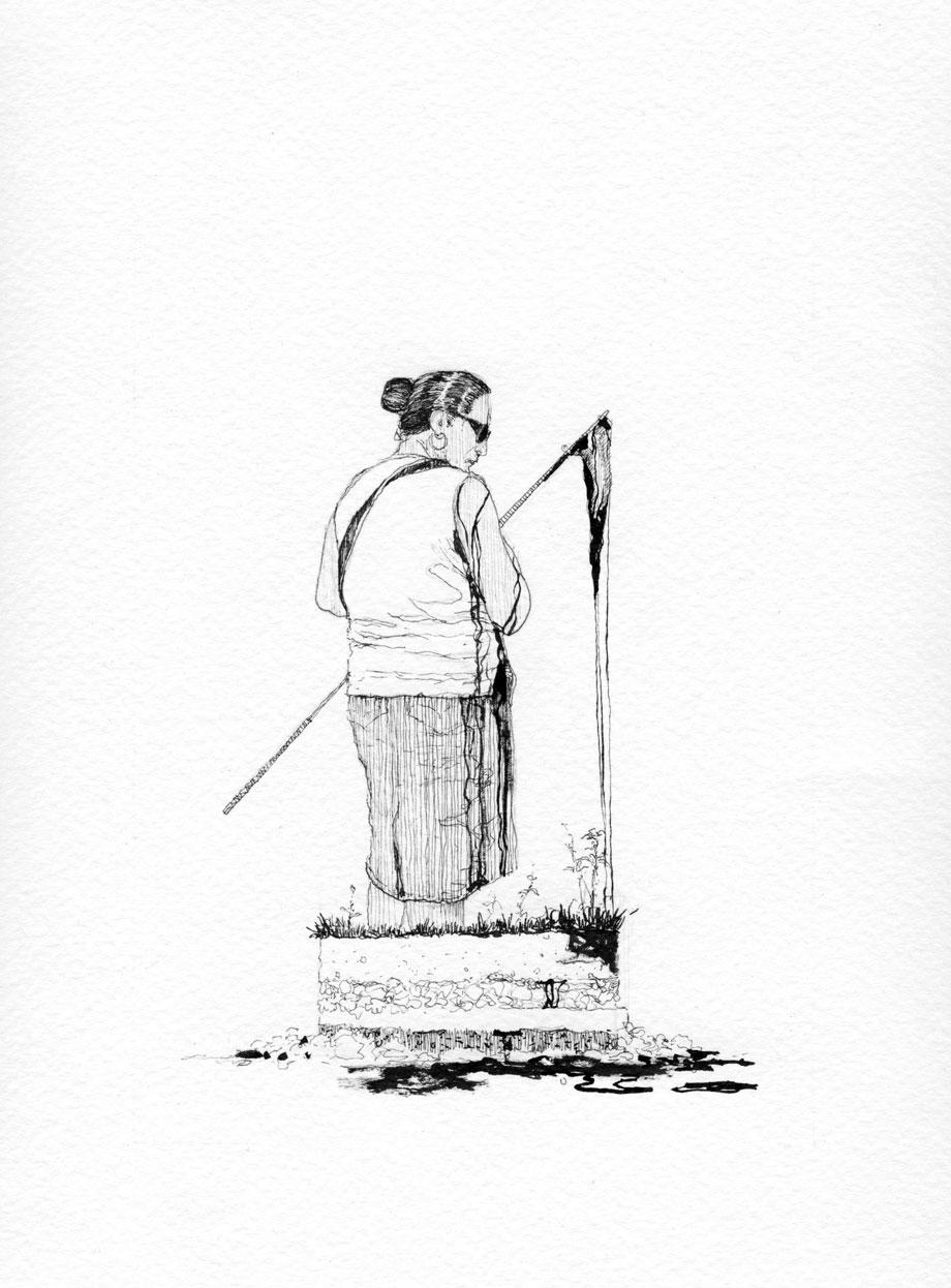 """""""Ofrendas al publico 4"""" Serie . Tinta sobre papel. 24x18cm"""