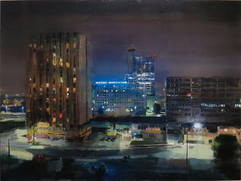"""hotel katowice"" Oil on wood 120 x 160 cm. 2016."