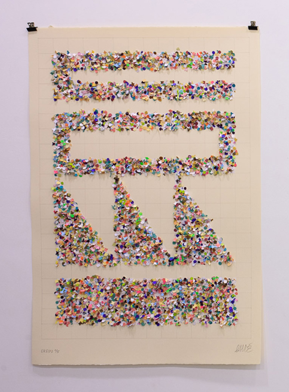 """Eredu-Confetti 1/5"" Mix media on paper ( Super-Alfa) 76x112 cm. 2011"