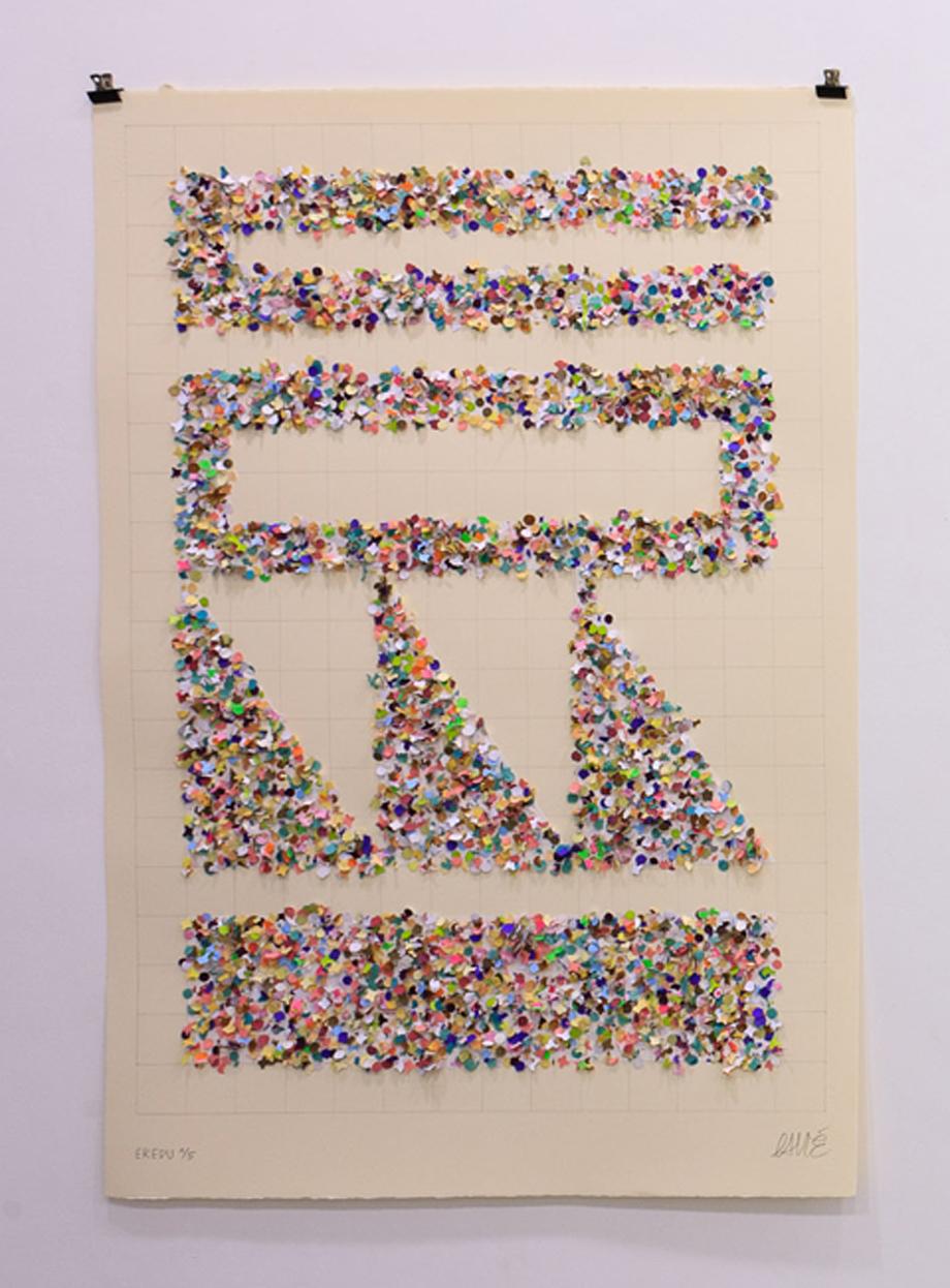 """""""Eredu-Confetti 1/5"""" Técnica mixta sobre papel (Super-Alfa) 76x112 cm. 2011"""