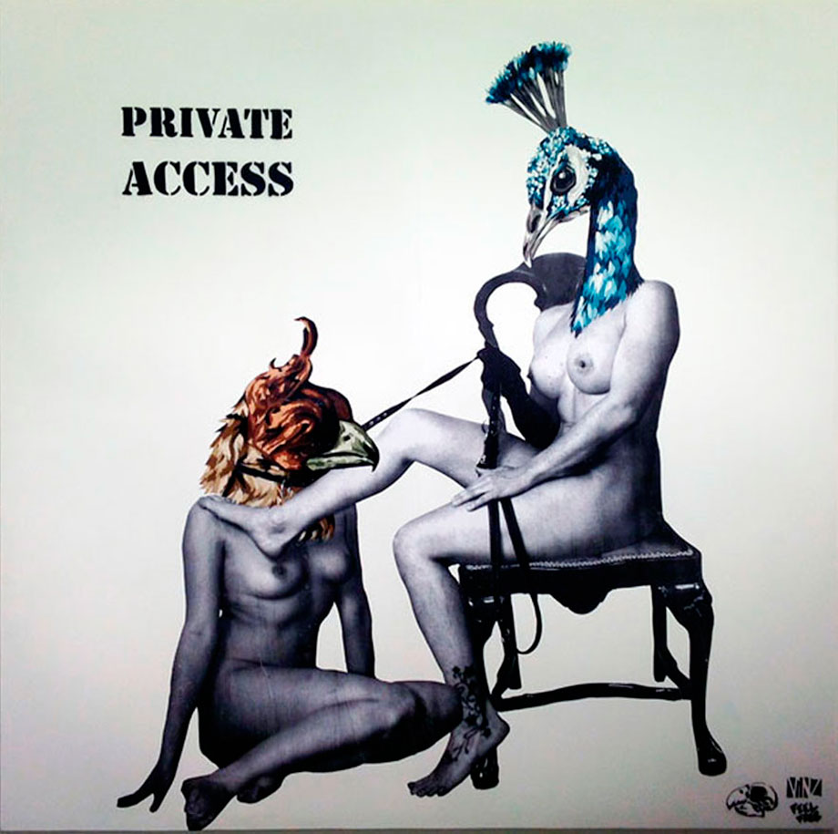 """Private acces"" 200x200 cm .wheatpaste & aerosol on wood."