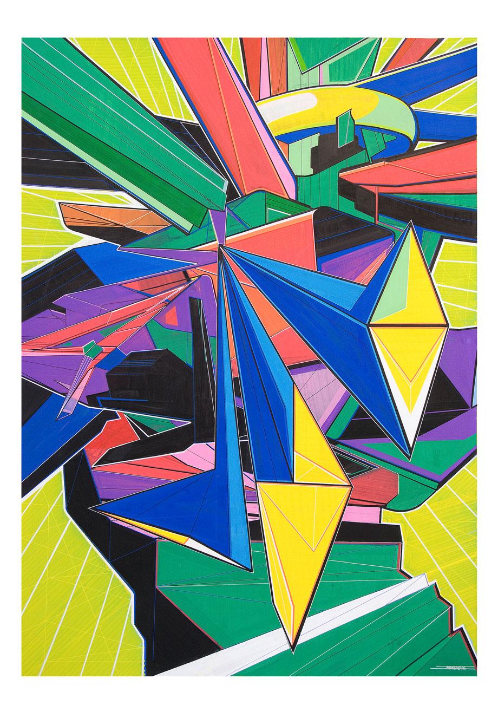 Futura con rombos, 2011  Tinta de témpera sobre papel 100x70cm