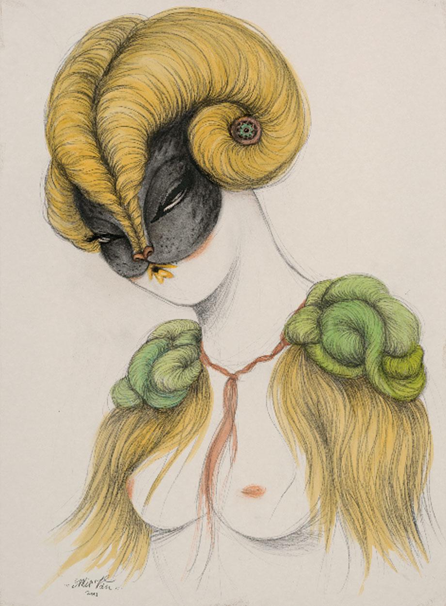 """Hairs 2"" 75 x 56 cm, lápiz y acrílico sobre papel"
